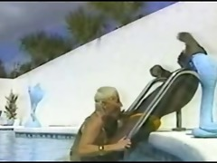 ir action by a swimming pool- vintage
