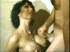 classic busty dark brown hair shower drilled