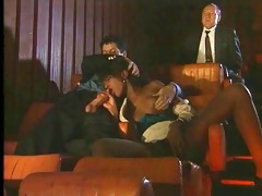 ebony drilled by youthful and old in the cinema