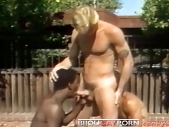 outdoor interracial threeway and voyeur - classic
