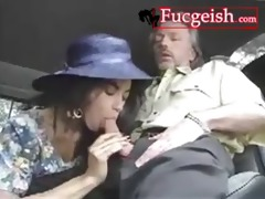 retro darksome playgirl in hat screwed by side of