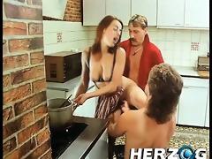 sexually slutty bushy retro gals sharing a big